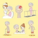 Cartoon old man do rehabilitation Royalty Free Stock Photography
