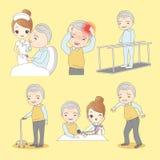 Cartoon old man do rehabilitation Royalty Free Stock Photos