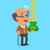 Cartoon old man earning money Stock Photos