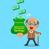 Cartoon old man earning money Royalty Free Stock Image