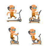 Cartoon old man with exercise machines Royalty Free Stock Images
