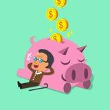Cartoon old man falling asleep with pink piggy Stock Photos