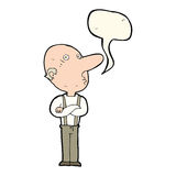 Cartoon old man with folded arms with speech bubble Stock Image