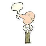 Cartoon old man with folded arms with speech bubble Stock Photo