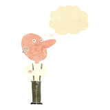 Cartoon old man with folded arms with thought bubble Stock Images