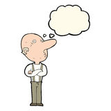 Cartoon old man with folded arms with thought bubble Royalty Free Stock Images