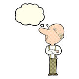 Cartoon old man with folded arms with thought bubble Stock Photo