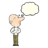 Cartoon old man with folded arms with thought bubble Royalty Free Stock Image