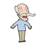 Cartoon old man gasping in surprise Stock Photos