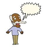 cartoon old man gasping in surprise with speech bubble Royalty Free Stock Photos