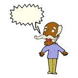 cartoon old man gasping in surprise with speech bubble Royalty Free Stock Images