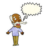 Cartoon old man gasping in surprise with speech bubble Stock Photos