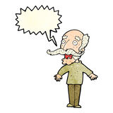 Cartoon old man gasping in surprise with speech bubble Royalty Free Stock Photo