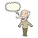 Cartoon old man gasping in surprise with speech bubble Stock Images