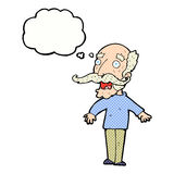 Cartoon old man gasping in surprise with thought bubble Stock Images