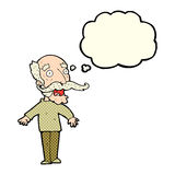 Cartoon old man gasping in surprise with thought bubble Royalty Free Stock Images