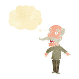 Cartoon old man gasping in surprise with thought bubble Royalty Free Stock Photos