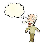 Cartoon old man gasping in surprise with thought bubble Stock Photography