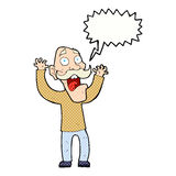 Cartoon old man getting a fright with speech bubble Stock Images