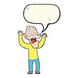 Cartoon old man getting a fright with speech bubble Stock Photos