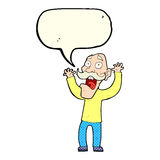 Cartoon old man getting a fright with speech bubble Royalty Free Stock Image
