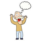 Cartoon old man getting a fright with thought bubble Stock Images