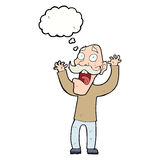 Cartoon old man getting a fright with thought bubble Stock Photos