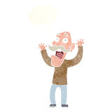 Cartoon old man getting a fright with thought bubble Royalty Free Stock Photos