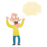 Cartoon old man getting a fright with thought bubble Royalty Free Stock Photography