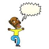 Cartoon old man having a fright with speech bubble Stock Photo