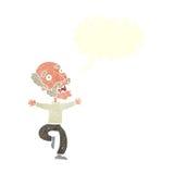 Cartoon old man having a fright with speech bubble Stock Photos