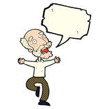 Cartoon old man having a fright with speech bubble Stock Images
