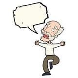 Cartoon old man having a fright with speech bubble Royalty Free Stock Photos