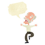 Cartoon old man having a fright with speech bubble Royalty Free Stock Image