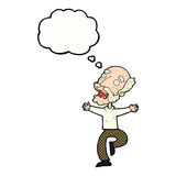 Cartoon old man having a fright with thought bubble Stock Photography