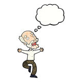 Cartoon old man having a fright with thought bubble Royalty Free Stock Photos
