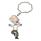 Cartoon old man having a fright with thought bubble Royalty Free Stock Photo