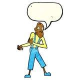 Cartoon old man having heart attack with speech bubble Stock Image
