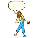 Cartoon old man having heart attack with speech bubble Royalty Free Stock Photo