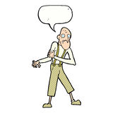 Cartoon old man having heart attack with speech bubble Royalty Free Stock Images