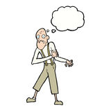 Cartoon old man having heart attack with thought bubble Royalty Free Stock Images