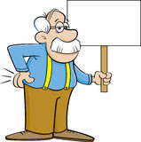 Cartoon old man holding a sign. Stock Photo