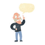 cartoon old man laying down rules with speech bubble Stock Photography