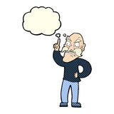 cartoon old man laying down rules with thought bubble Royalty Free Stock Photos