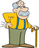 Cartoon old man leaning on a cane. Royalty Free Stock Photos