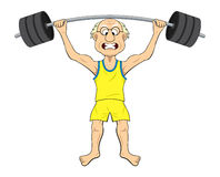 Cartoon old man lifting weights Royalty Free Stock Photo