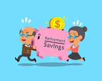Cartoon old man and old woman carrying retirement savings pink piggy Stock Image