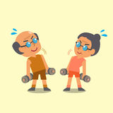 Cartoon old man and old woman doing dumbbells exercise Stock Images