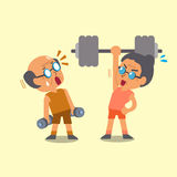 Cartoon old man and old woman doing weight training Royalty Free Stock Image