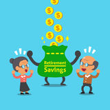 Cartoon old man and old woman earning money Royalty Free Stock Image